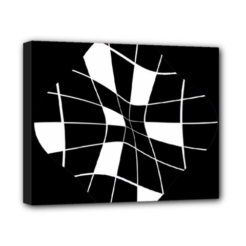 Black and white abstract flower Canvas 10  x 8