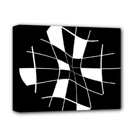 Black and white abstract flower Deluxe Canvas 14  x 11