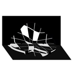 Black and white abstract flower Twin Heart Bottom 3D Greeting Card (8x4)