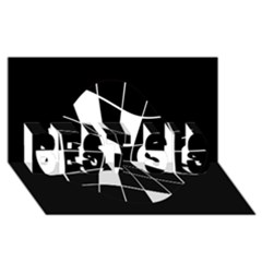 Black and white abstract flower BEST SIS 3D Greeting Card (8x4)