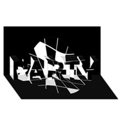 Black and white abstract flower PARTY 3D Greeting Card (8x4)