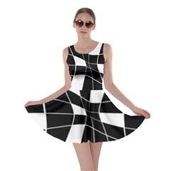 Black and white abstract flower Skater Dress