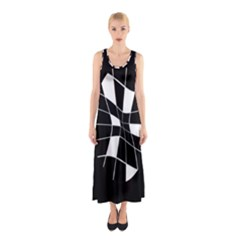 Black and white abstract flower Sleeveless Maxi Dress