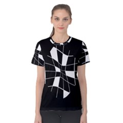 Black and white abstract flower Women s Cotton Tee