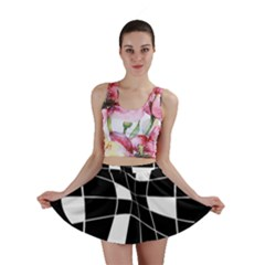 Black and white abstract flower Mini Skirt