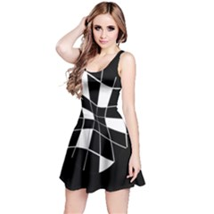 Black and white abstract flower Reversible Sleeveless Dress
