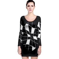 Black and white abstract flower Long Sleeve Bodycon Dress