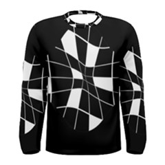 Black and white abstract flower Men s Long Sleeve Tee