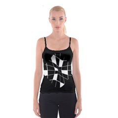 Black and white abstract flower Spaghetti Strap Top