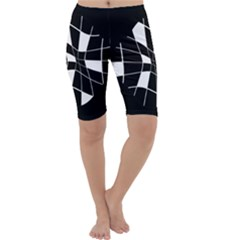 Black and white abstract flower Cropped Leggings