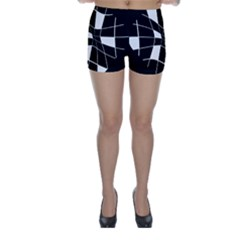 Black and white abstract flower Skinny Shorts