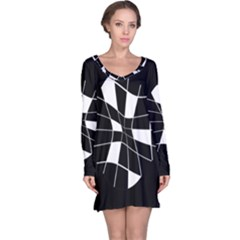 Black and white abstract flower Long Sleeve Nightdress