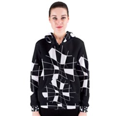 Black and white abstract flower Women s Zipper Hoodie