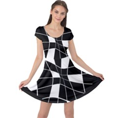 Black and white abstract flower Cap Sleeve Dresses
