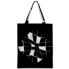 Black and white abstract flower Zipper Classic Tote Bag
