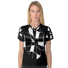 Black and white abstract flower Women s V-Neck Sport Mesh Tee