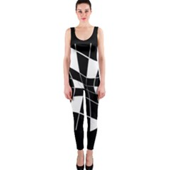 Black and white abstract flower OnePiece Catsuit