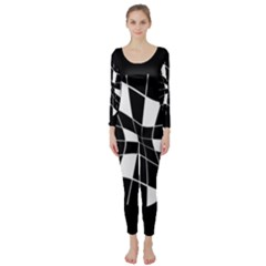 Black and white abstract flower Long Sleeve Catsuit