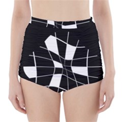 Black and white abstract flower High-Waisted Bikini Bottoms