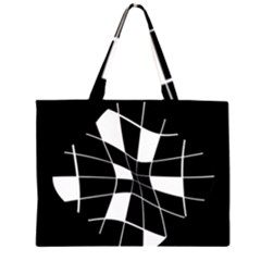 Black And White Abstract Flower Zipper Large Tote Bag