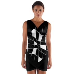 Black and white abstract flower Wrap Front Bodycon Dress