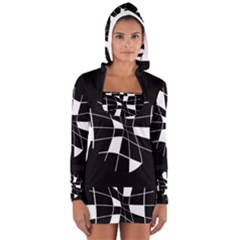 Black and white abstract flower Women s Long Sleeve Hooded T-shirt