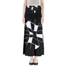 Black and white abstract flower Maxi Skirts
