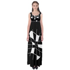 Black and white abstract flower Empire Waist Maxi Dress
