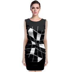 Black And White Abstract Flower Classic Sleeveless Midi Dress