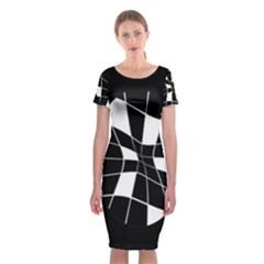 Black and white abstract flower Classic Short Sleeve Midi Dress