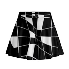 Black And White Abstract Flower Mini Flare Skirt