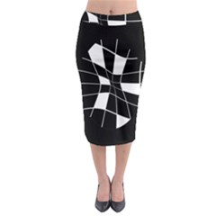 Black And White Abstract Flower Midi Pencil Skirt