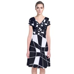 Black And White Abstract Flower Short Sleeve Front Wrap Dress
