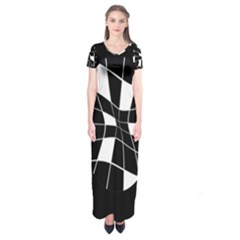 Black And White Abstract Flower Short Sleeve Maxi Dress