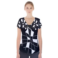 Black And White Abstract Flower Short Sleeve Front Detail Top