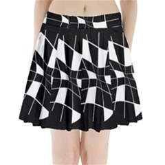 Black And White Abstract Flower Pleated Mini Mesh Skirt