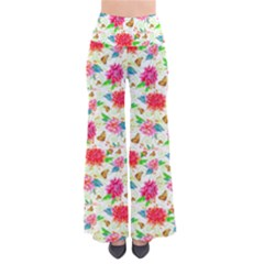 Dahlia and Butterfly Pattern Palazzo Pants Women s Chic Palazzo Pants