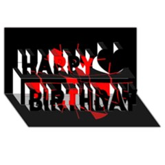 Red abstract flower Happy Birthday 3D Greeting Card (8x4)