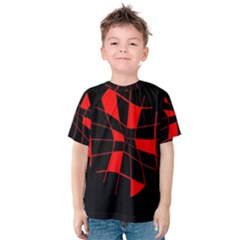Red Abstract Flower Kid s Cotton Tee
