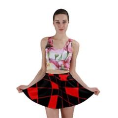 Red abstract flower Mini Skirt