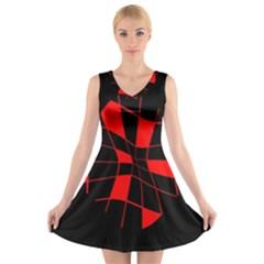 Red abstract flower V-Neck Sleeveless Skater Dress