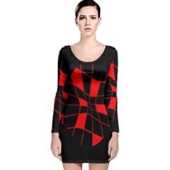 Red abstract flower Long Sleeve Velvet Bodycon Dress