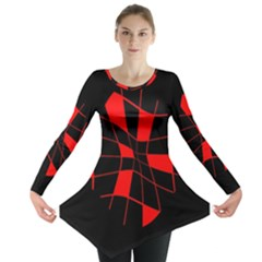 Red abstract flower Long Sleeve Tunic