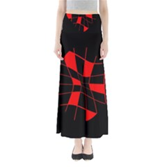 Red abstract flower Maxi Skirts