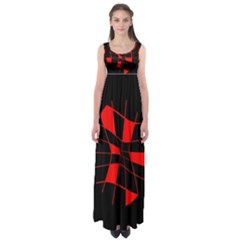 Red abstract flower Empire Waist Maxi Dress