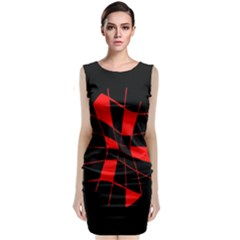 Red Abstract Flower Classic Sleeveless Midi Dress