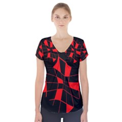 Red Abstract Flower Short Sleeve Front Detail Top