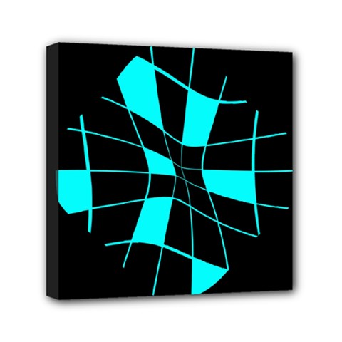 Blue abstract flower Mini Canvas 6  x 6