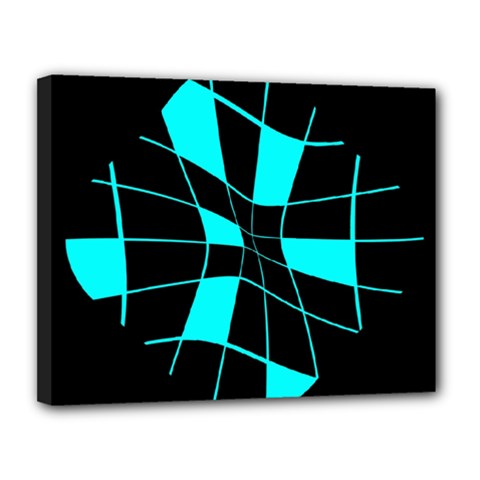 Blue abstract flower Canvas 14  x 11