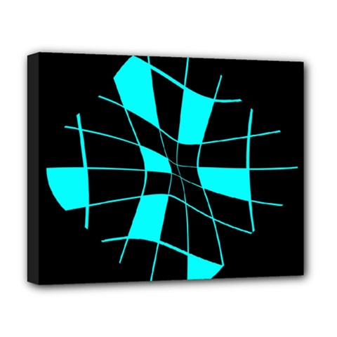 Blue abstract flower Deluxe Canvas 20  x 16